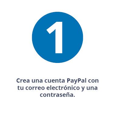 Crea una cuenta PayPal con tu correo electrónico y una contraseña.